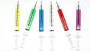 bolígrafos con forma de jeringuilla