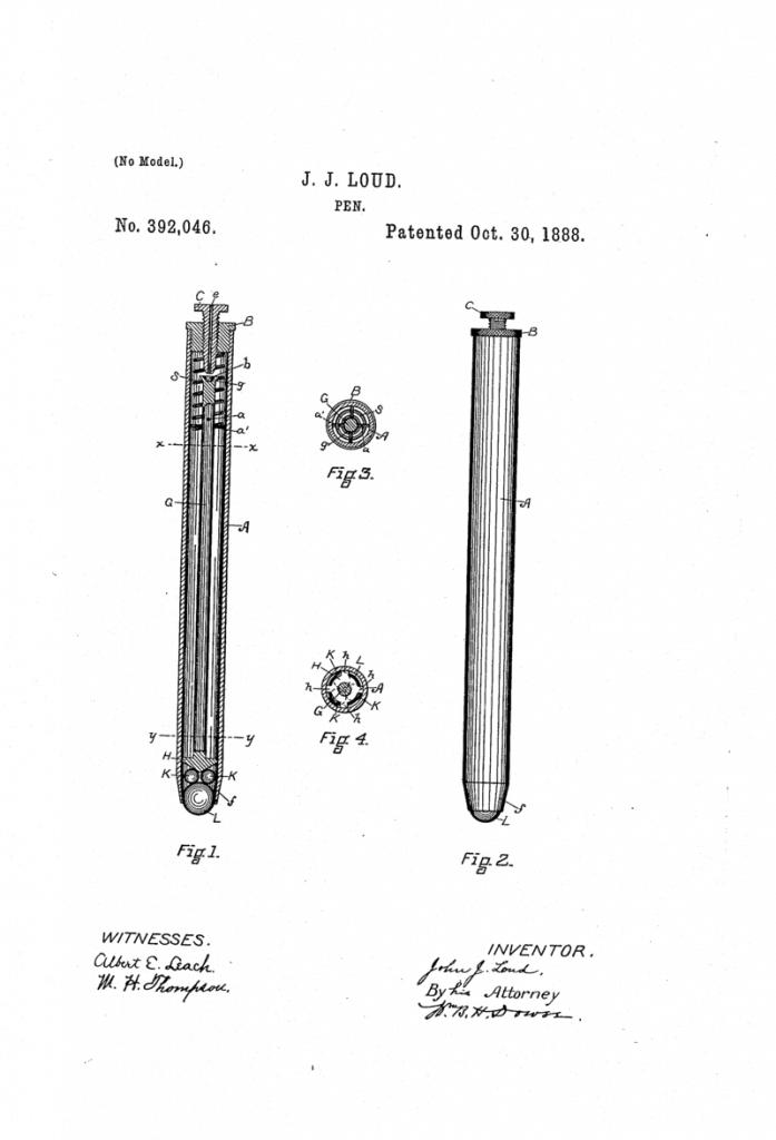 patente del bolígrafo de John Loud