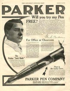 Plumas Parker. Anuncio de 1909
